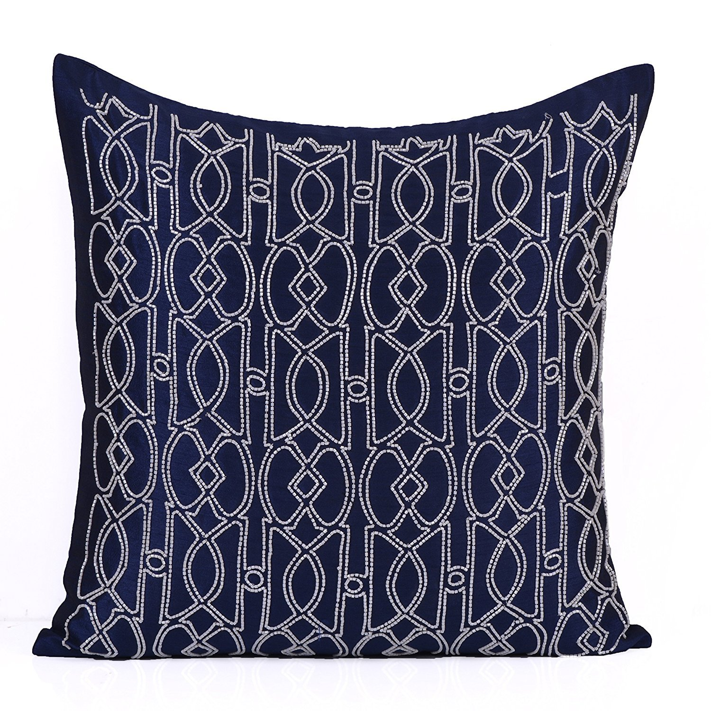 白の花びらビーズTrellisパターン枕カバー 12x12 inches ブルー WP-HE17001 Dblue-White Dupioni 12 MPN B07CDQQRG4  Dark Blue-white 12x12 inches