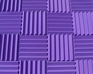 "Soundproofing Acoustic Studio Foam - Purple Color - Wedge Style Panels 12""x12""x2"" Tiles - 4 Pack"