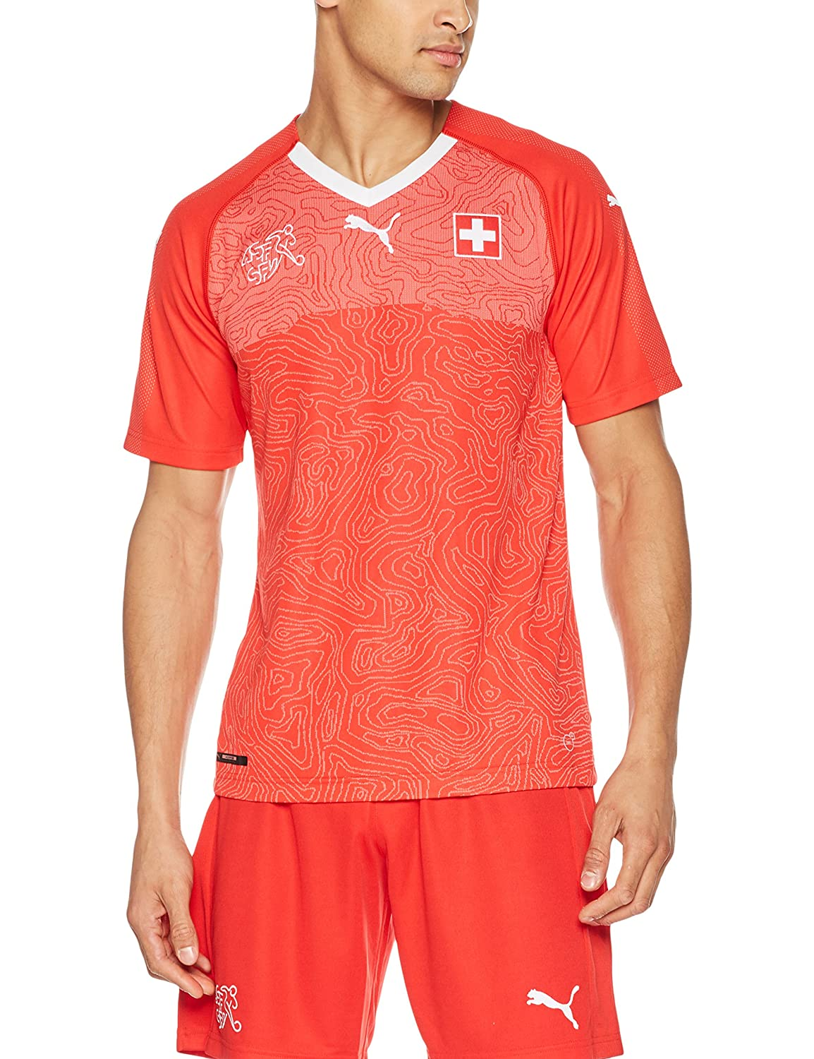 Red Large PUMA Mens Suisse Replica Jersey Athletic Shirt
