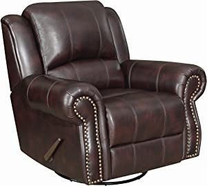 Coaster Home Furnishings Sir Rawlinson Upholstered Swivel Rocker Recliner Dark Brown