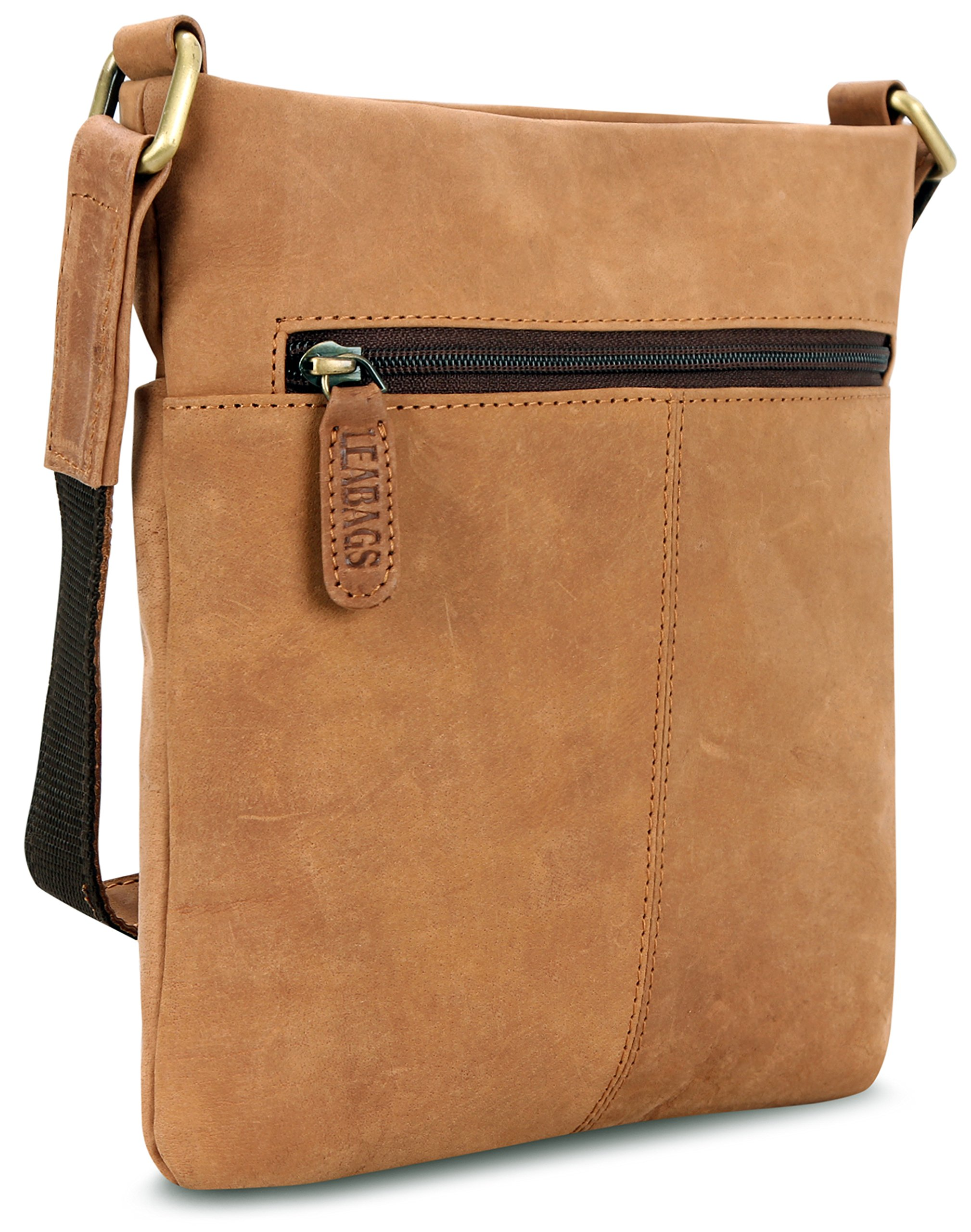 LEABAGS Seattle genuine buffalo leather crossbody bag in vintage style - Brown by LEABAGS (Image #5)