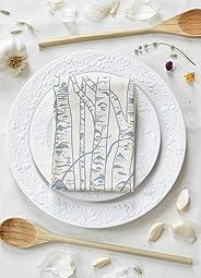 Tea Towel, Organic Cotton, Birch Tree Design in Grey, Large Size, Handmade in Maine