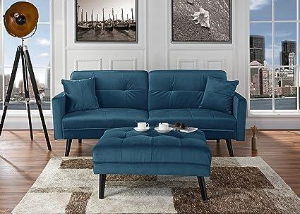 Mid-Century Modern Brush Microfiber Futon Sofa Bed, Living Room Sleeper  Couch (Blue)