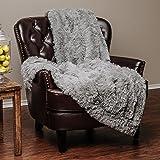 """Chanasya Super Soft Long Shaggy Chic Fuzzy Fur Faux Fur Warm Elegant Cozy With Fluffy Sherpa Tan Blue Gray Microfiber Throw Blanket (60"""" x 70"""") - Solid Shaggy Slate Blue Gray"""