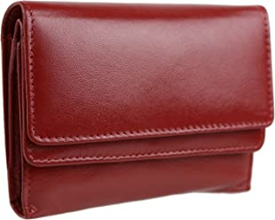 2a79a759db Ladies Compact LEATHER Purse Wallet by Dominique 2 Sections Handy 4 Colours  (Red)