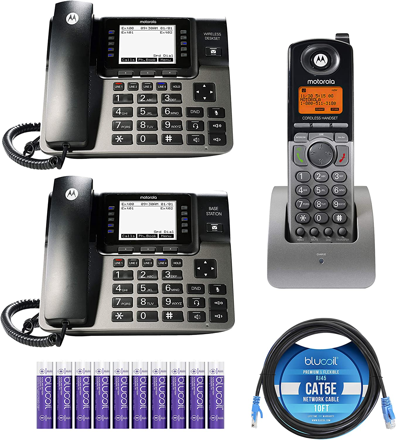 Motorola ML1002S (ML1000 x1, ML1100 x1, ML1200 x1) DECT 6.0 Expandable 4-Line Business Phone System with Digital Receptionist and Answering System Bundle with Blucoil 10FT Cat5e Cable,10 AAA Batteries