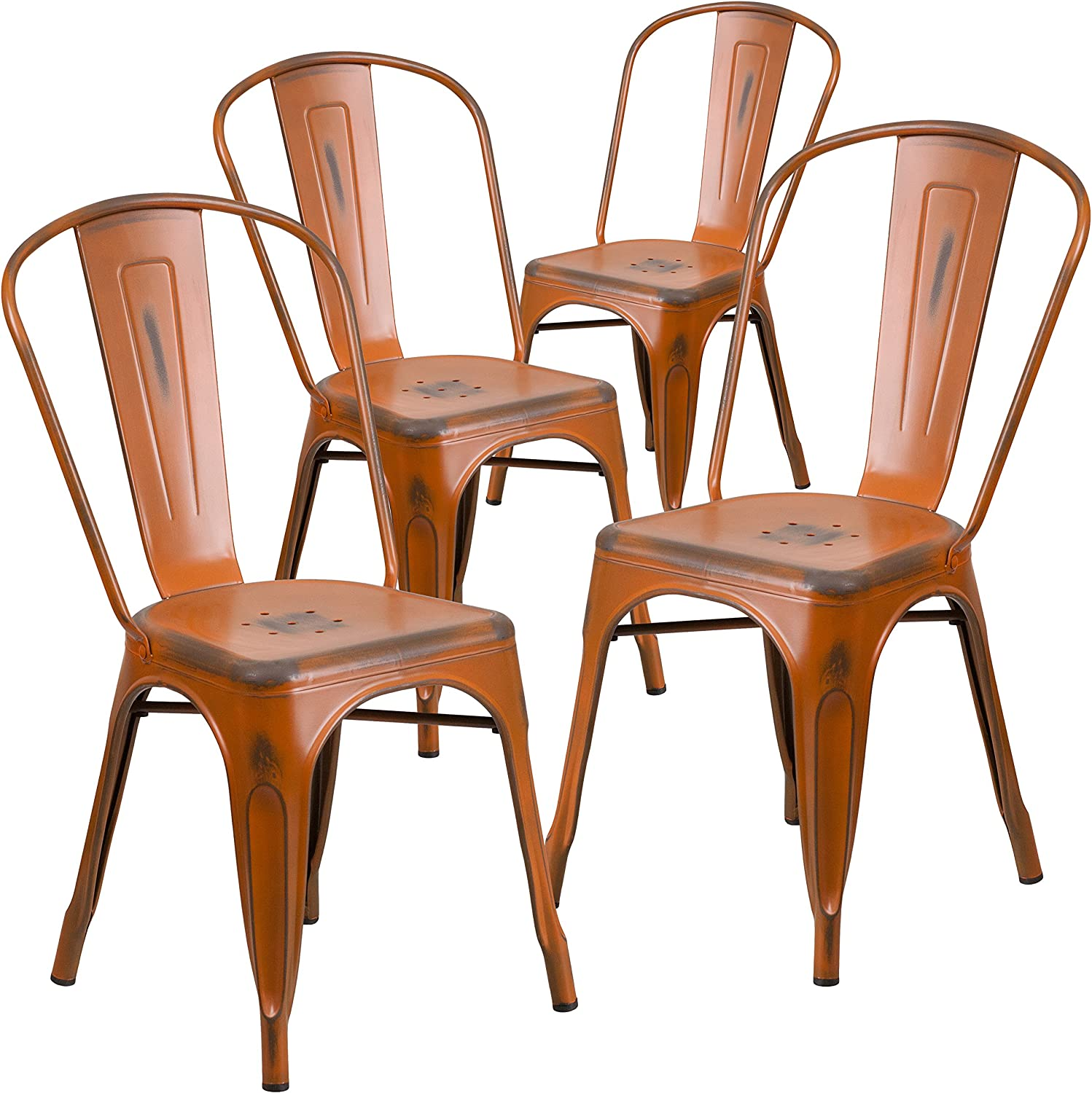 Flash Furniture 4 Pk. Distressed Orange Metal Indoor-Outdoor Stackable Chair