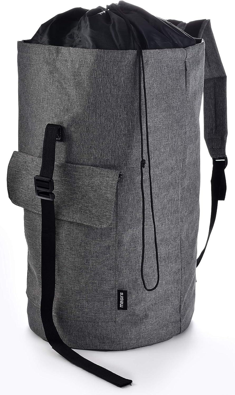 Backpack Camping Laundry Bag - Padded Adjustable Comfort Shoulder Straps, Front Pocket, Back Zippered Pocket, Drawstring Closure. Great for Laundry, Camping, Hiking, Travel or Sports Duffel Bag.