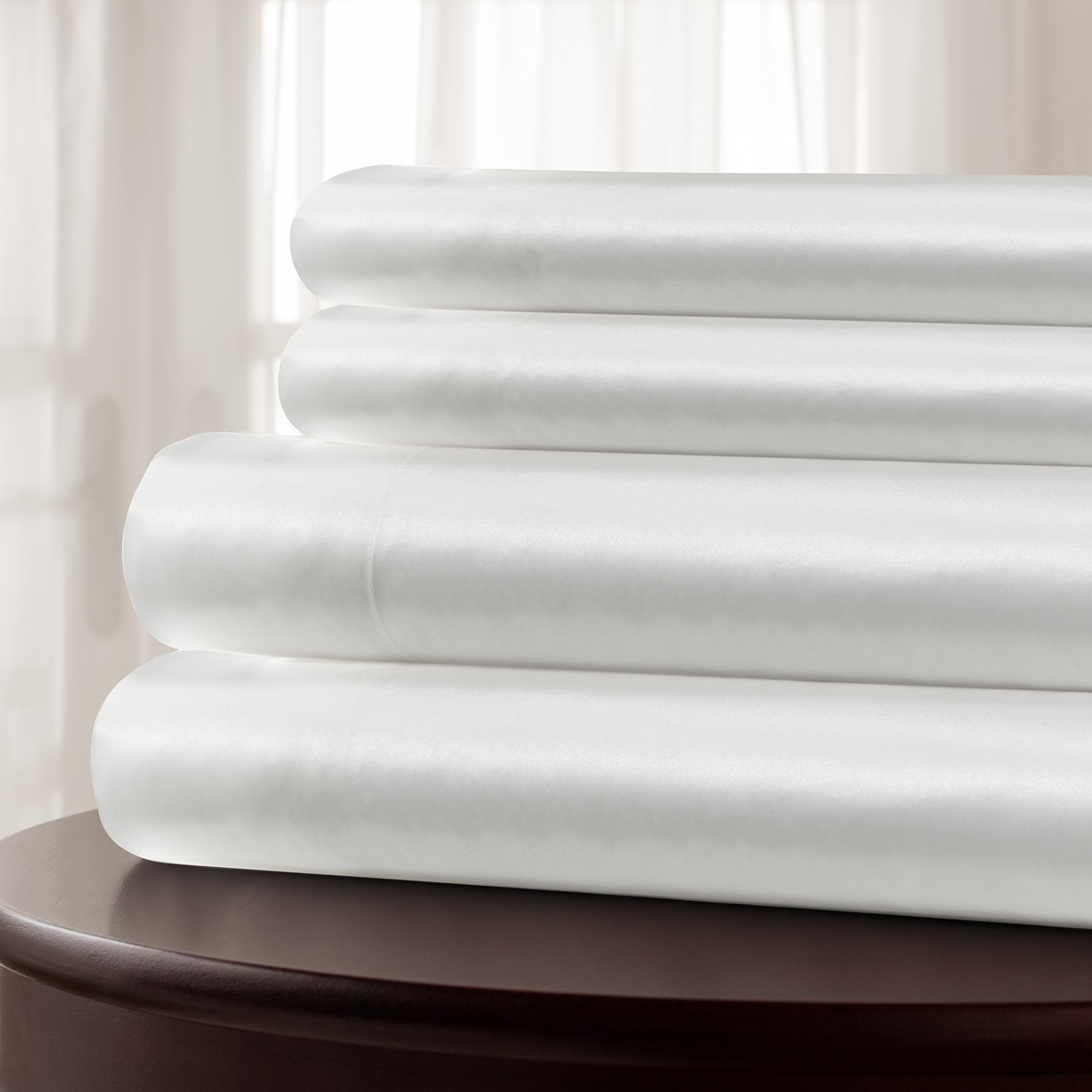 Twin Silk Sheet Set (15'' Pocket) - White - DELUXE 22 Momme 100% Pure Mulberry Charmeuse Natural Bedding - OEKO-TEX Certified - Seamless by Mulberry Park Silks (Image #2)