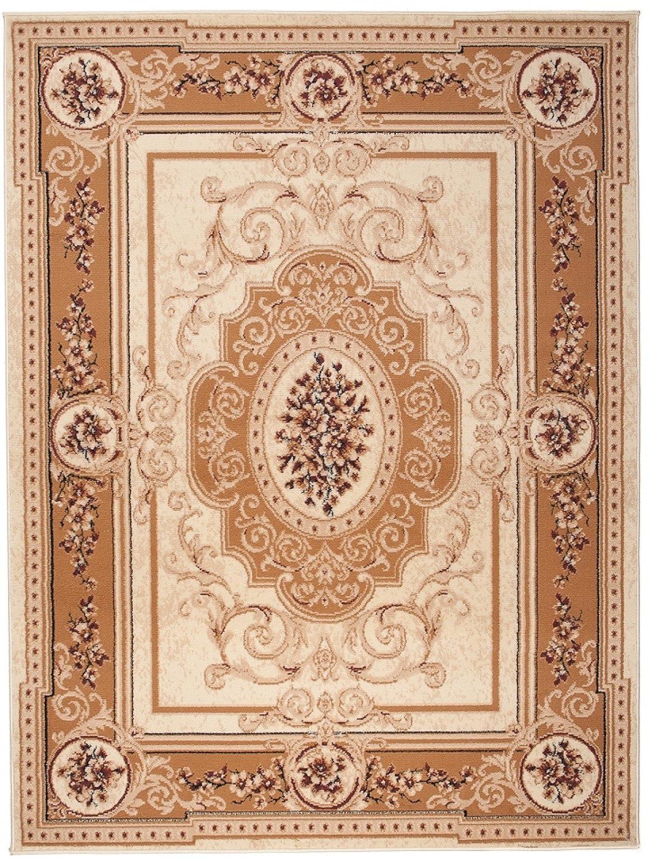 Tapiso Atlas Teppich Klassisch Kurzflor Beige Orientalisch Barock Blumen Muster Creme Braun Hellbraun Wohnzimmer Gästezimmer ÖKOTEX 300 x 400 cm