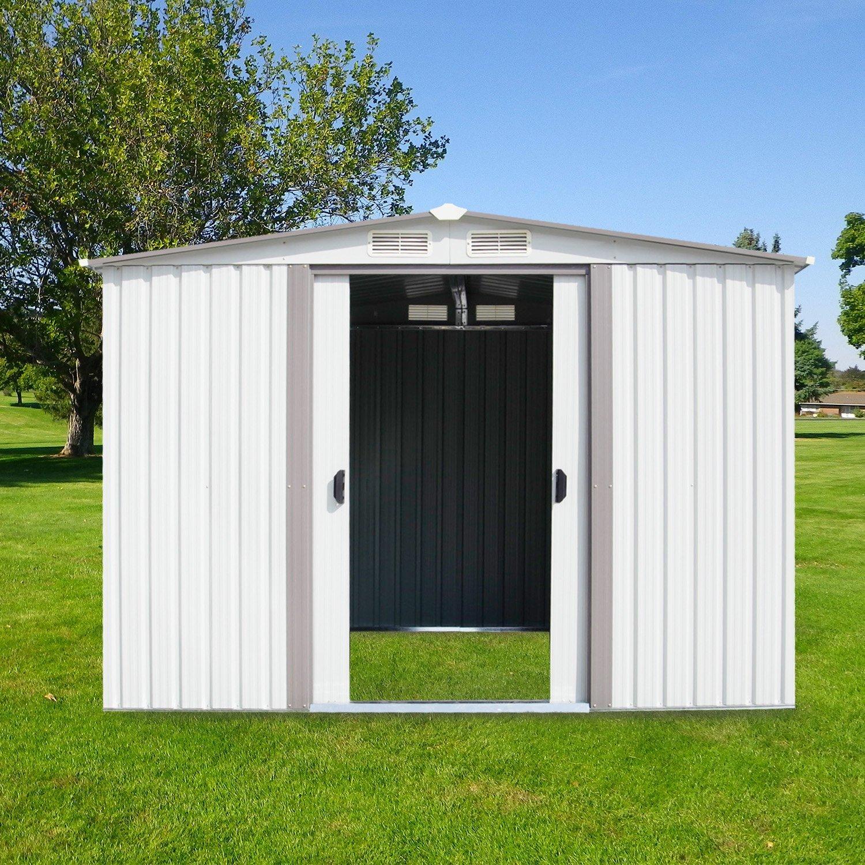 Kinbor 8' x 8' Outdoor Steel Garden Storage Utility Tool Shed Backyard Lawn White w/Door