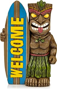 VP Home Tiki Welcome Surfboard Solar Powered LED Outdoor Decor Garden Light