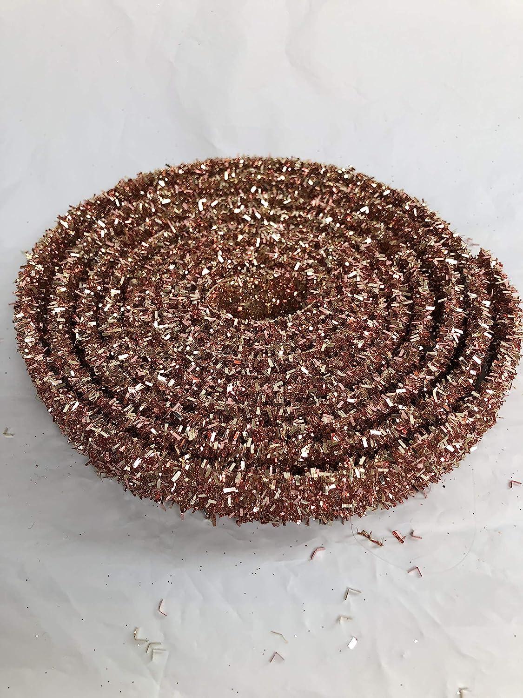 RAZ Imports Halloween Decor Orange Rose Gold Glitter Flat Ribbon Garland