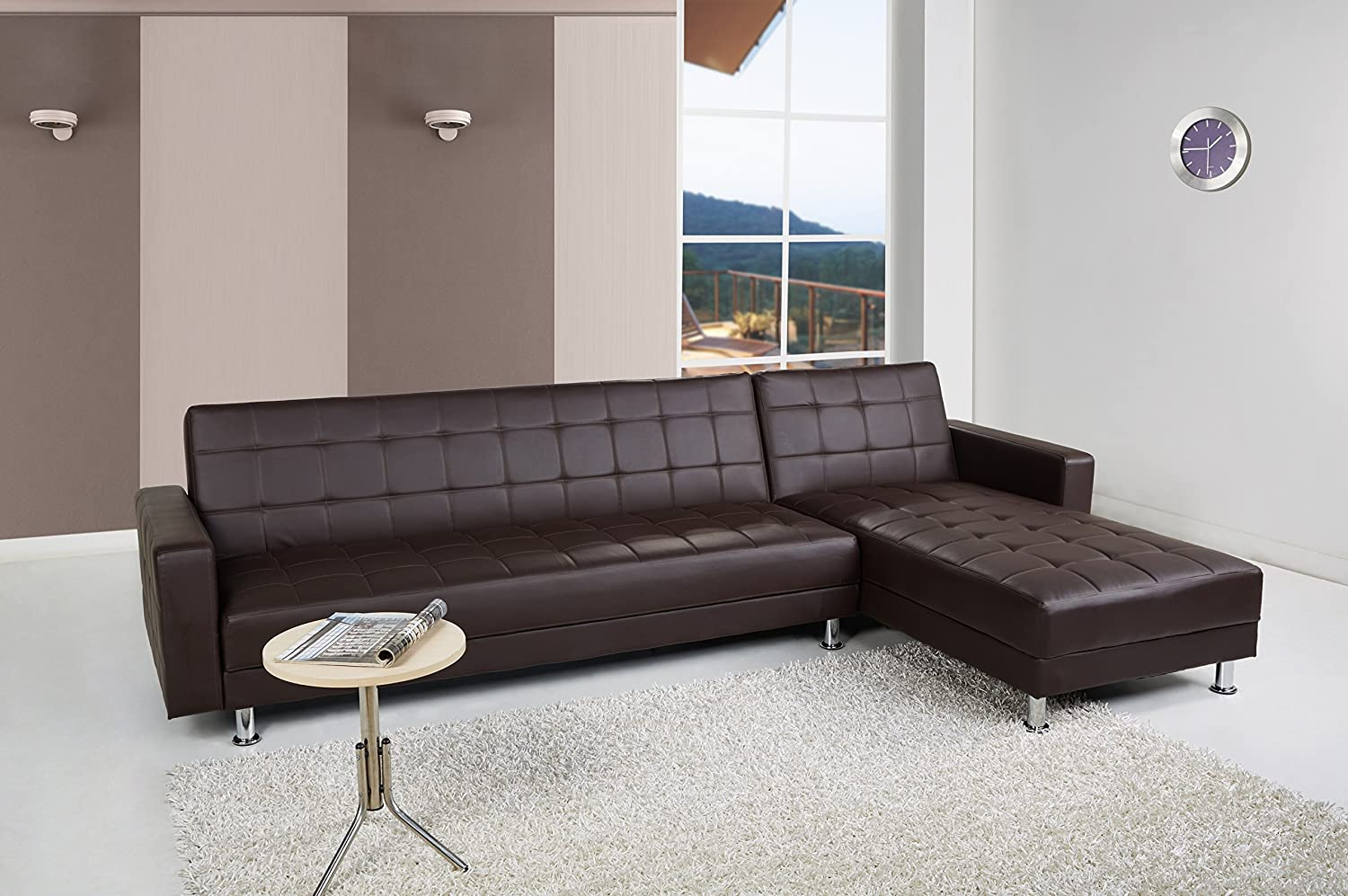 Delightful Amazon.com: Gold Sparrow Frankfort Convertible Sectional Sofa Bed, Dark  Brown: Home U0026 Kitchen