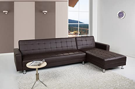 Gold Sparrow Frankfort Convertible Sectional Sofa Bed, Dark Brown