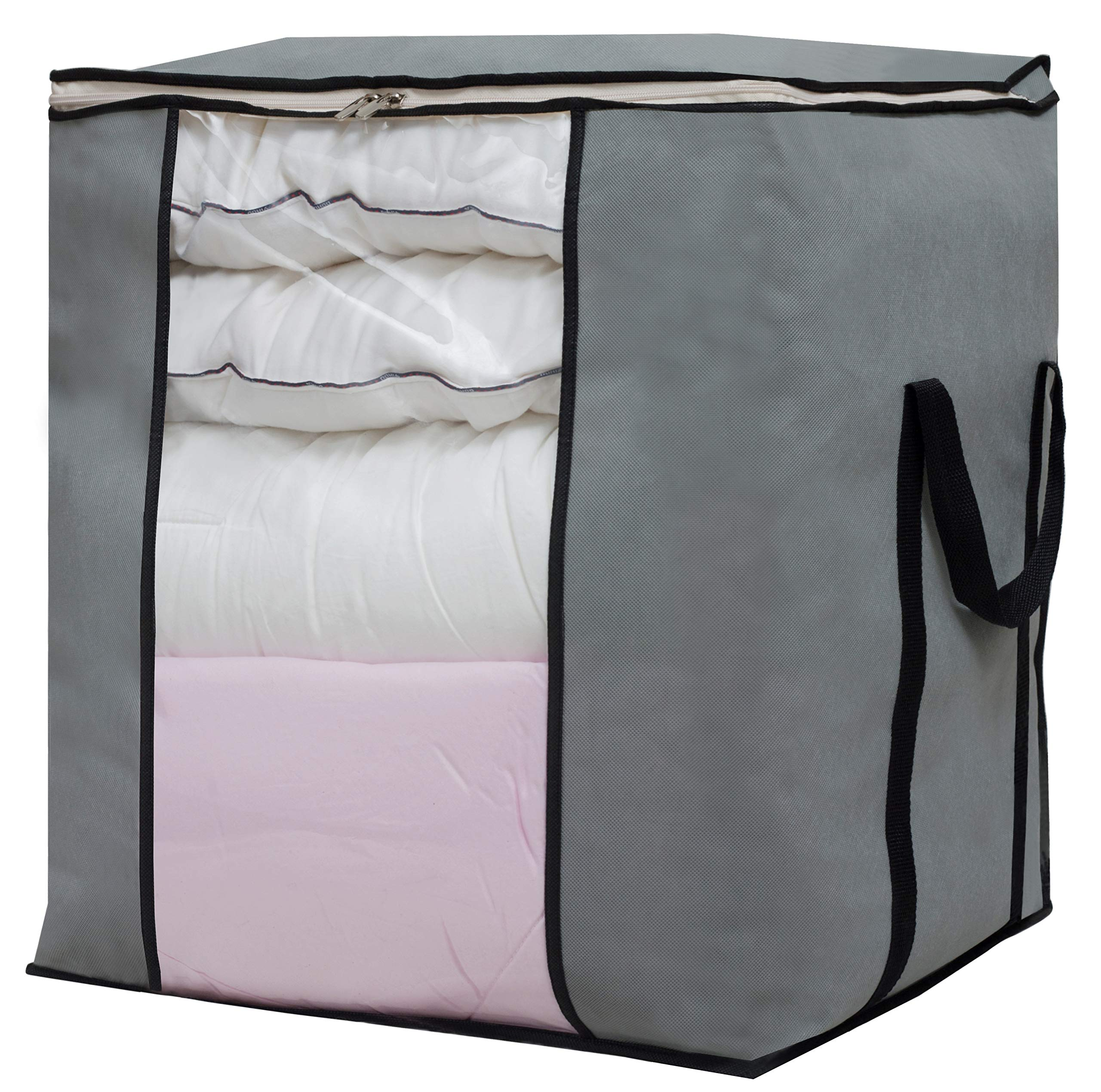 SLEEPING LAMB Large Foldable Storage Bag Organizer Moisture Proof Clothes Storage Container for Blanket Comforter Clothing Bedding with Durable Handles, Grey