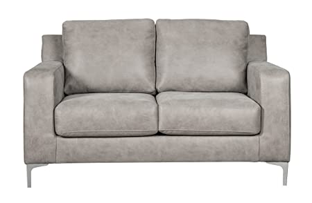 Ashley Furniture Signature Design – Ryler Contemporary Upholstered Loveseat – Steel