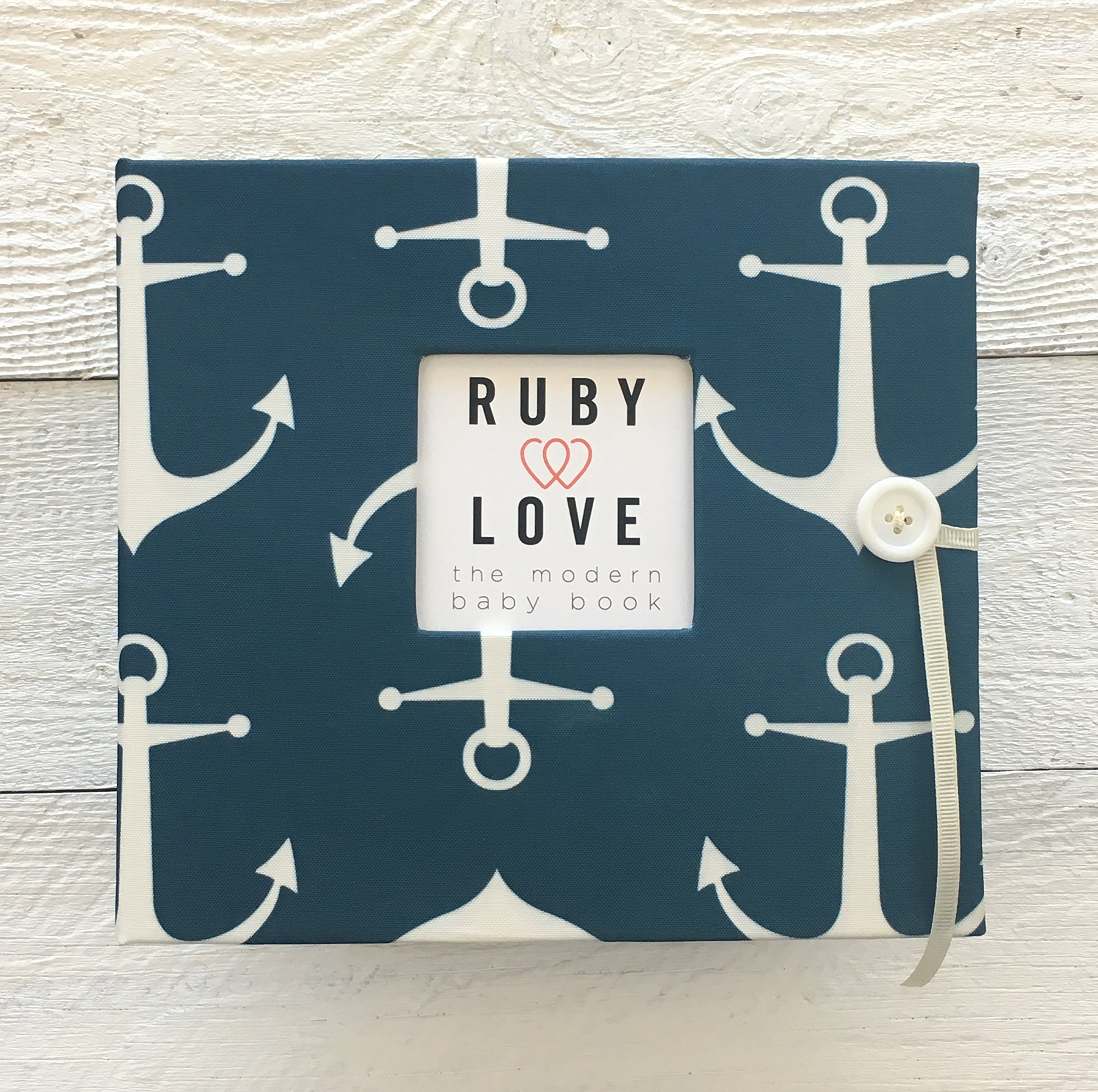Vintage Sailor Anchors Baby Memory Book (Navy)