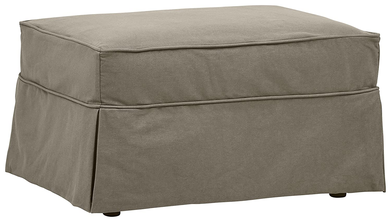 "Stone & Beam Carrigan Slipcovered Ottoman, 33""W, Grey Taupe"