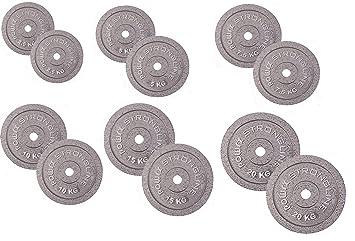 POWRX Discos Hierro Fundido 5-30 kg Set - Pesas Ideales para ...