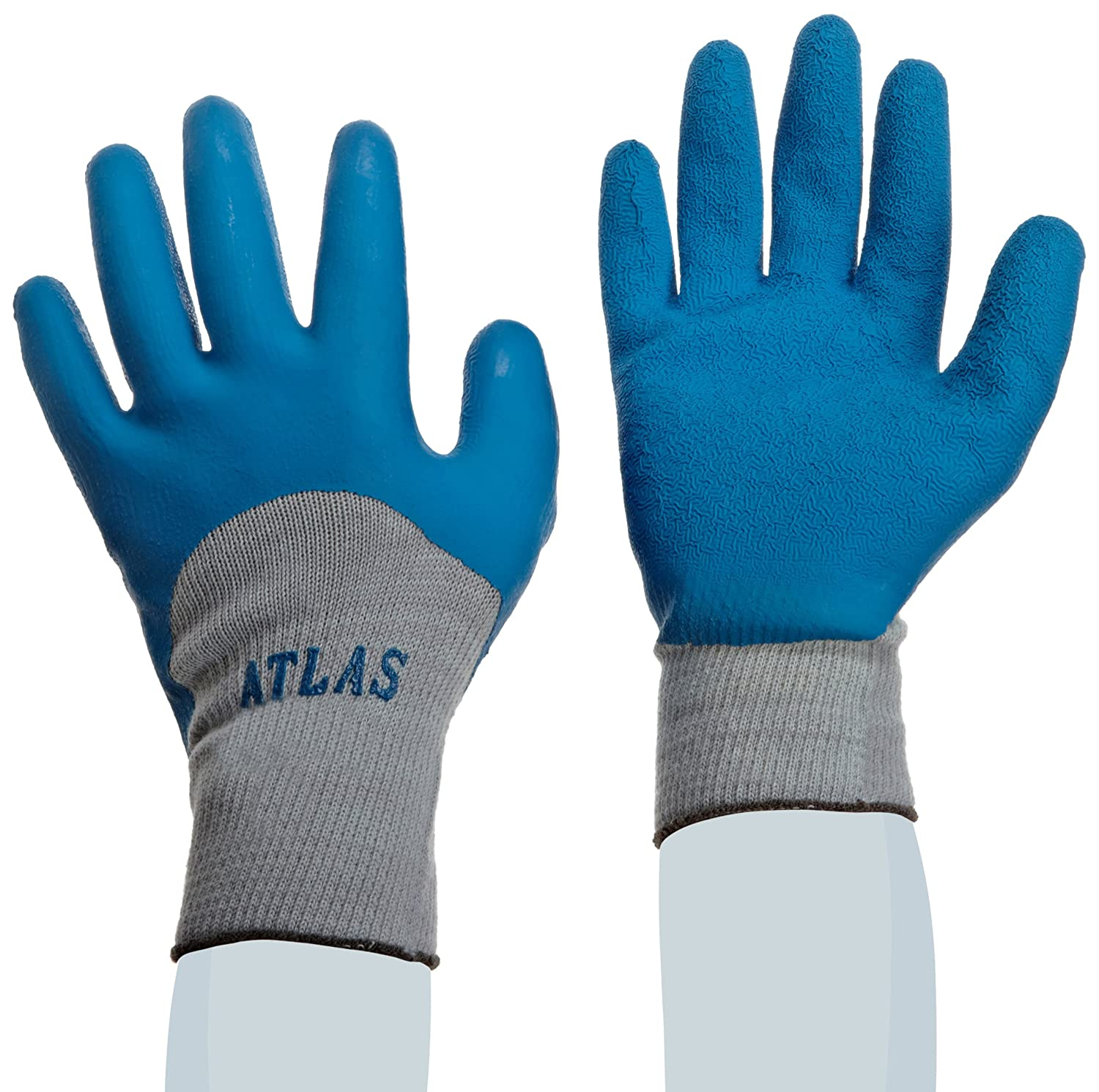 GENERAL PURPOSE SHOWA ATLAS FIT 300 NATURAL RUBBER PALM COATED WORK GLOVES BLUE