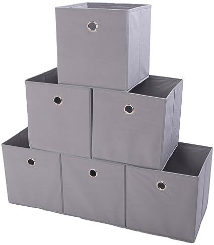41739cdaa304 Amelitory Storage Bins Foldable Cube Organizer Fabric Drawer Set of 6 Gray