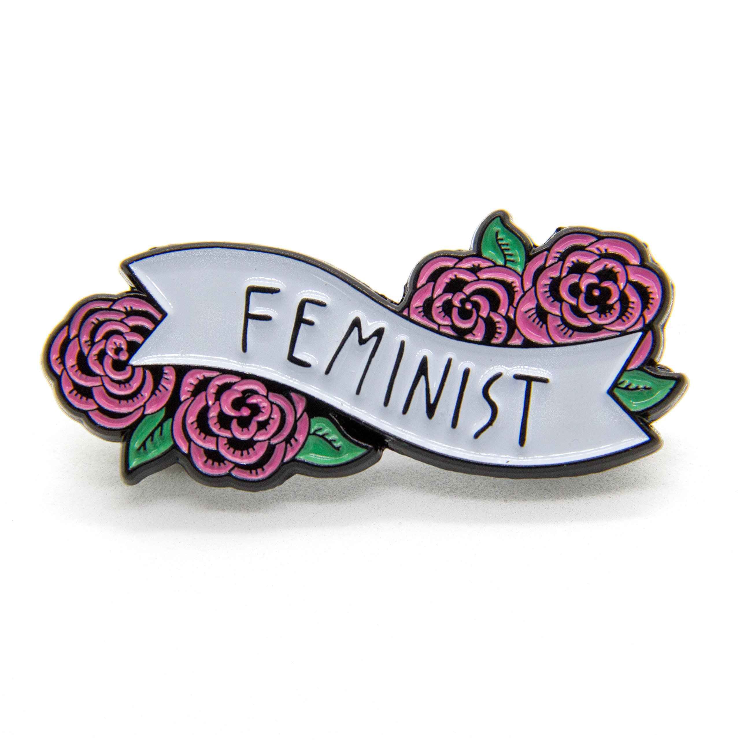 Ectogasm Feminist Enamel Pin Banner with Flowers Cute Quote Accessory for Women by Ectogasm