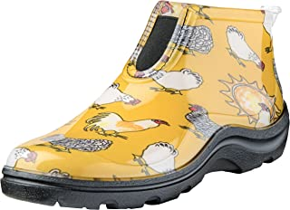product image for Sloggers Women's Waterproof Rain and Garden Ankle Boot with Comfort Insole, Chickens Daffodil Yellow, Size 6, Style 2841CDY06
