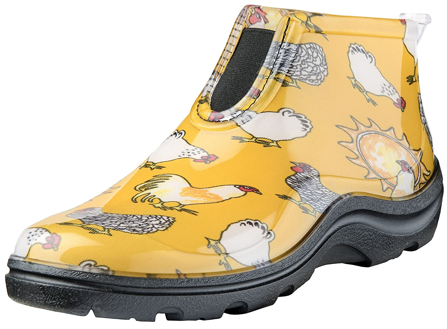 Sloggers Women's Waterproof Rain and Garden Ankle Boot with Comfort Insole, Chickens Daffodil Yellow, Size 8, Style 2841CDY08