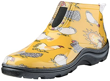 Women's Waterproof Rain and Garden Ankle Boot with Comfort Insole Chickens Daffodil Yellow Size 9 Style 2841CDY09