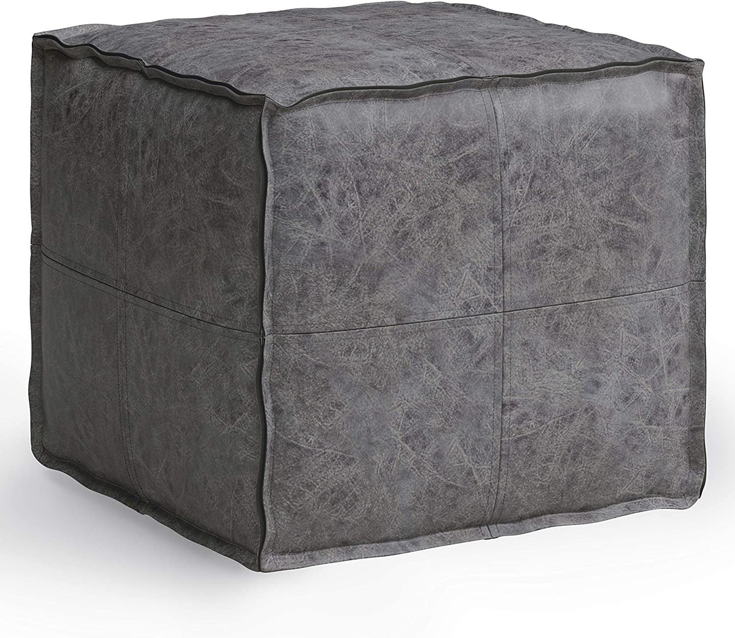 SIMPLIHOME Brody Square Pouf, Footstool, Upholstered in Distressed Black Faux Leather, for the Living Room, Bedroom and Kids Room, Transitional, Modern