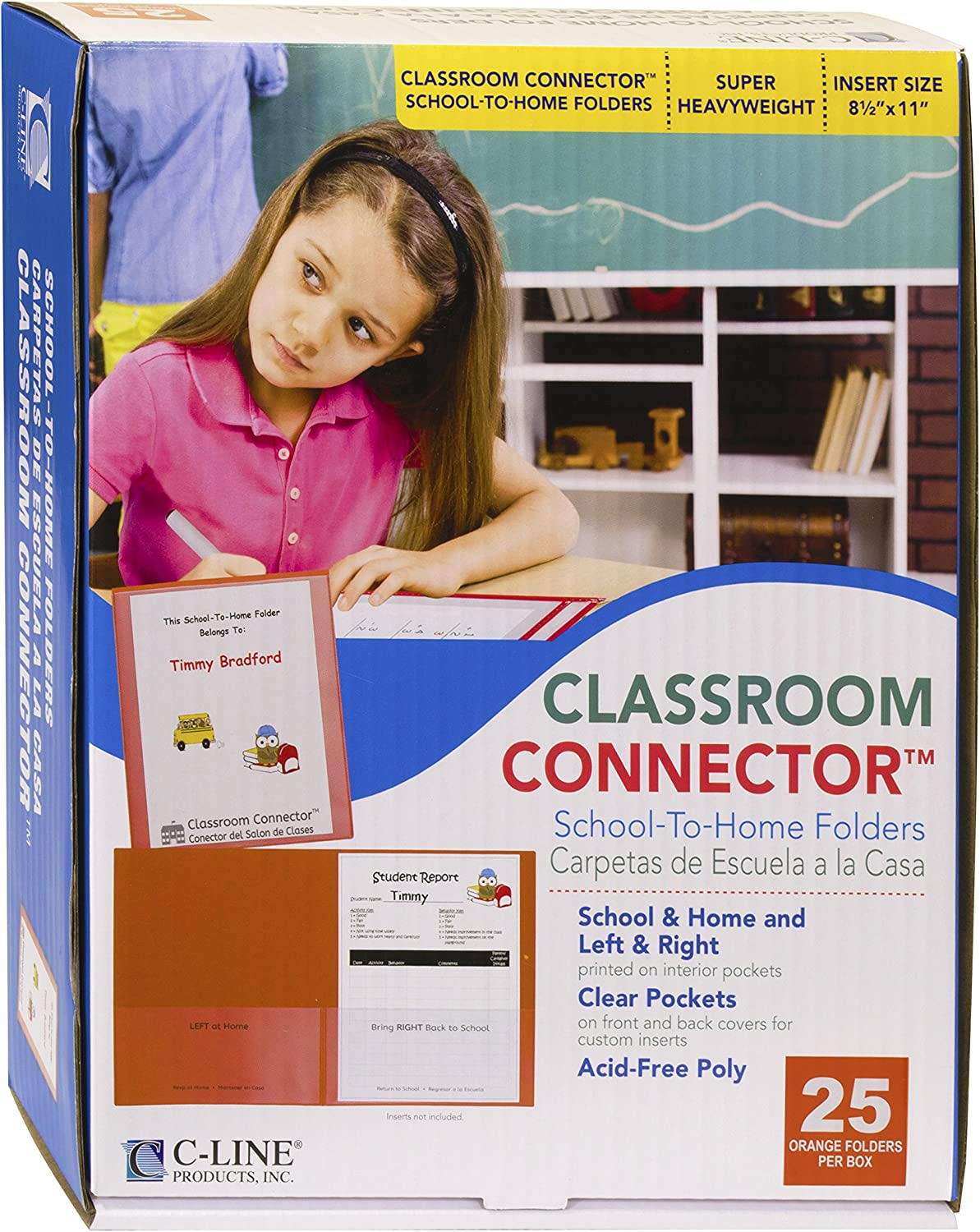 C-Line Classroom Connector School-to-Home Folders, Orange, 25 per Box (32002)