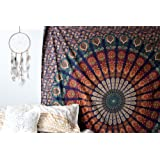 Tema colore blu arancione mandala parete Tapestriy, Peacock Tapestry, Psychedelic Indian Tapestry Bedding, Bohemian Wall Hanging, stampa floreale Queen Bed cover, hippy arazzo di Raajsee (220*240cms)