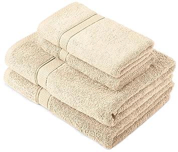 Pinzon by Amazon - Juego de toallas de algodón egipcio (2 toallas de baño y 2 toallas de manos), color crema: Amazon.es: Hogar