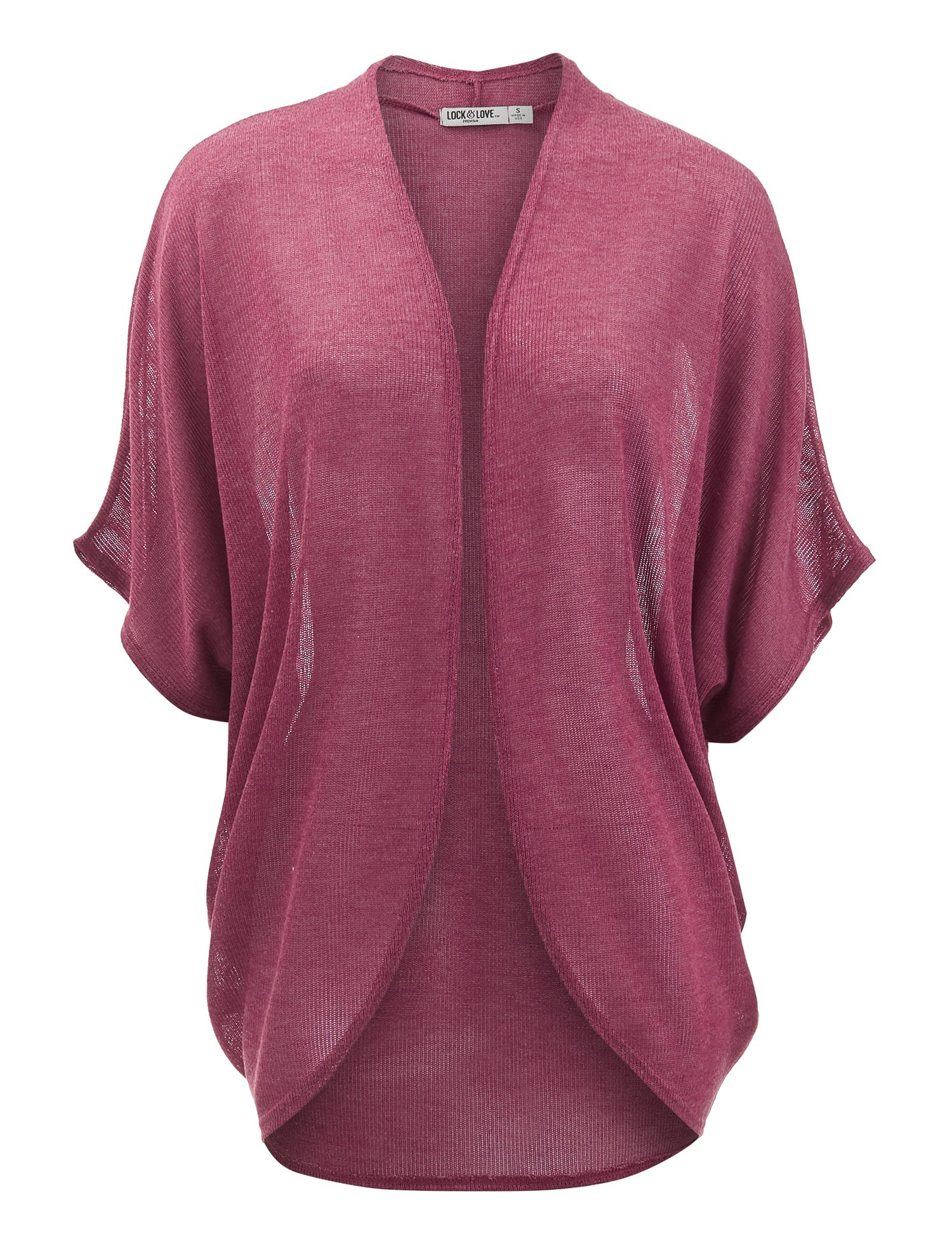 Lock and Love WSK1528 Womens Short Sleeve Open-Front Batwing Cardigan - Made in USA S Wine