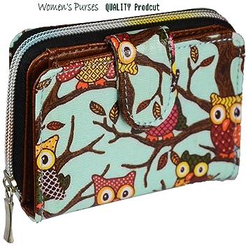 Cartera para mujer, con monedero y tarjetero, varios diseños Turquois-owl
