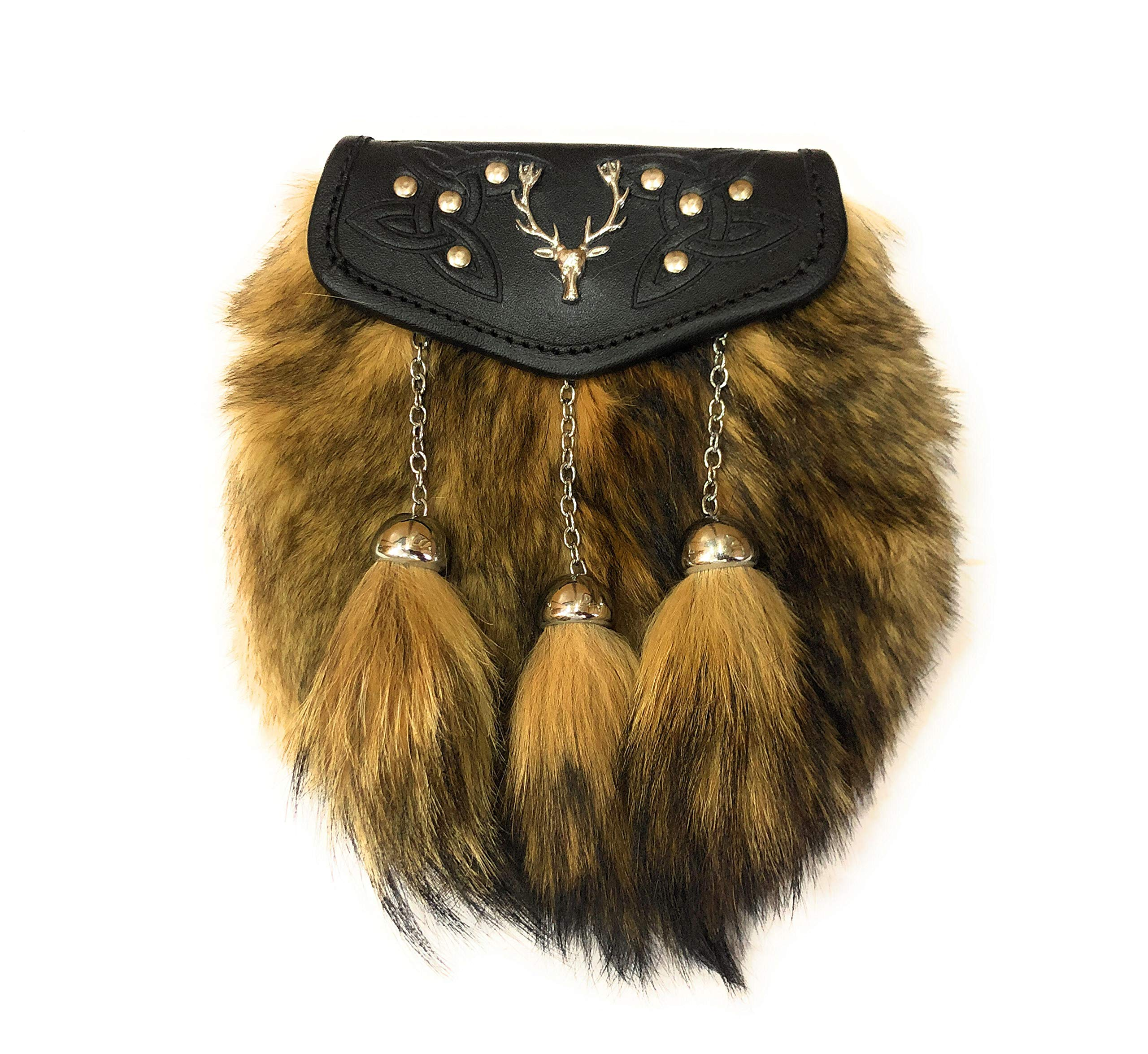 Genuine Coyote Fur Kilt Sporran with Stag Badge on Leather Flap Black by KSUC SUPPLIES