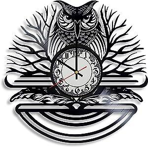 Owl Lover Gift Clock, Bird House Decor, owl Logo Design, Bird Logo, Woodland Animal Artwork, owl Birthday Sign