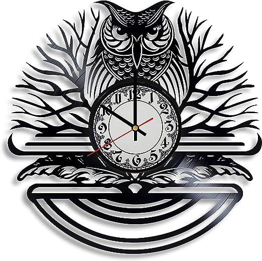OWLS Wall Clock kitchen bedroom lounge decor animals birds gift