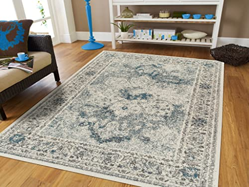 Modern Distressed Area Rug Carpet Vintage Rugs for Living Room Medium 5 x8 , Dark Blue
