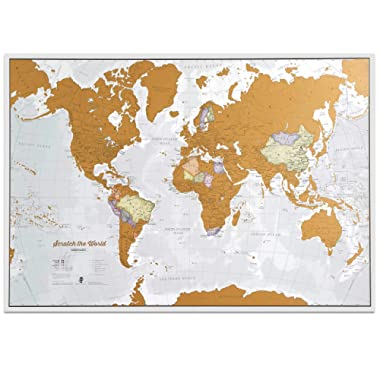 Maps International Scratch The World Travel Map - Scratch Off World Map Poster - Most Detailed Cartography - X-Large 33 x 23 - Featuring Country Boundaries and State Names