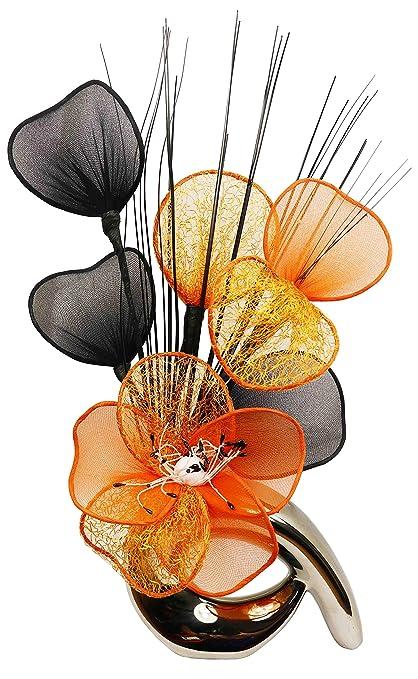 . Amazon com  Silver Vase Orange Artificial Flowers  Ornaments Living