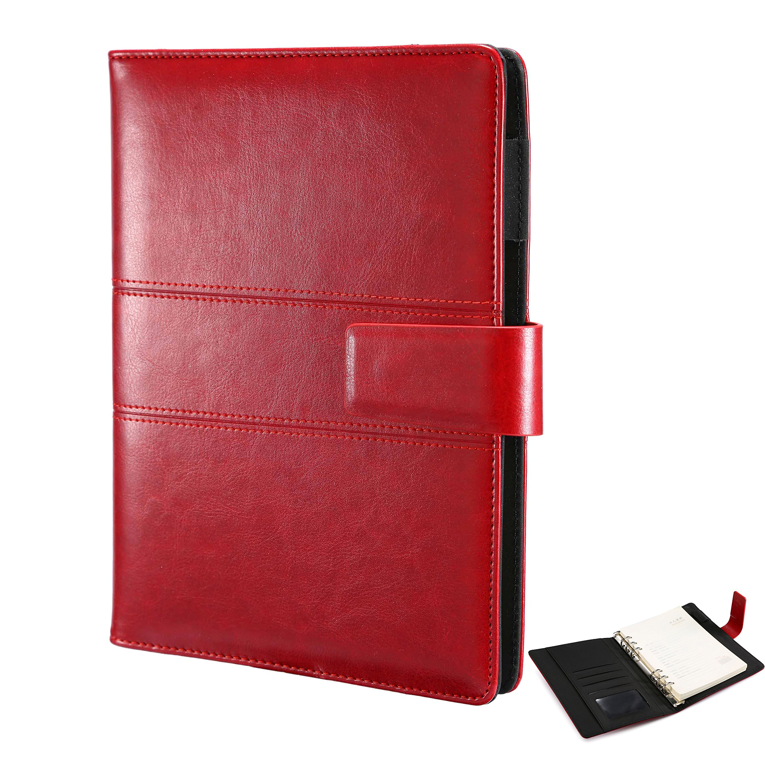 A5 Softcover Leather Ring Binders Writing Notebook,Spiral-Bound Journal Executive A5 Diary with Magnet Closure,Lined Pages,Perfect for Office Business School