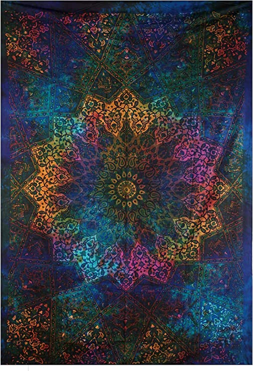 Nature Pattern Sky Tapestry Twin Cotton Fabric Wall Hanging Multi Color Tie Die