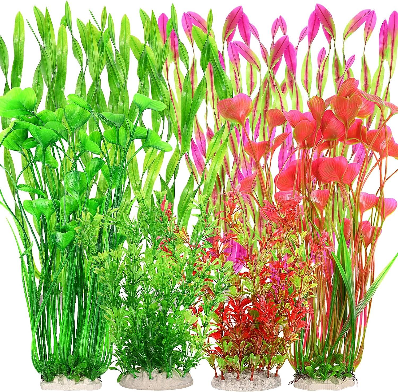 10PCS Pianta d'acquario artificiale lunga, decorazioni di piante acquatiche per acquario, decorazioni di piante subacquee vivaci, cassaforte realistica per tutti i pesci (pianta grande)