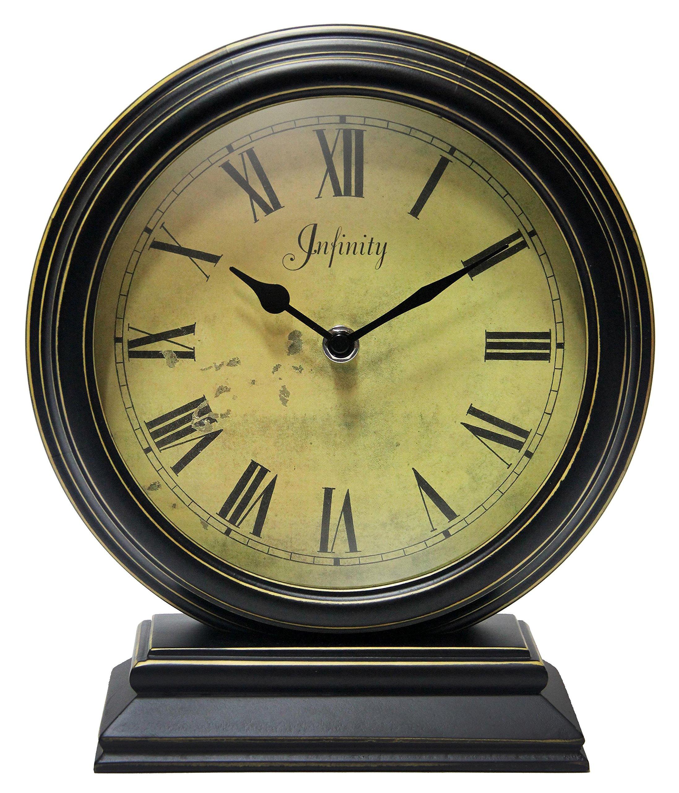 SZ02 HD Glass Lens European Style Vintage Silent Desk Alarm Clock Non Ticking Quartz Movement Battery Operated Easy to Read JUSTUP 5.5 Classic Retro Clock