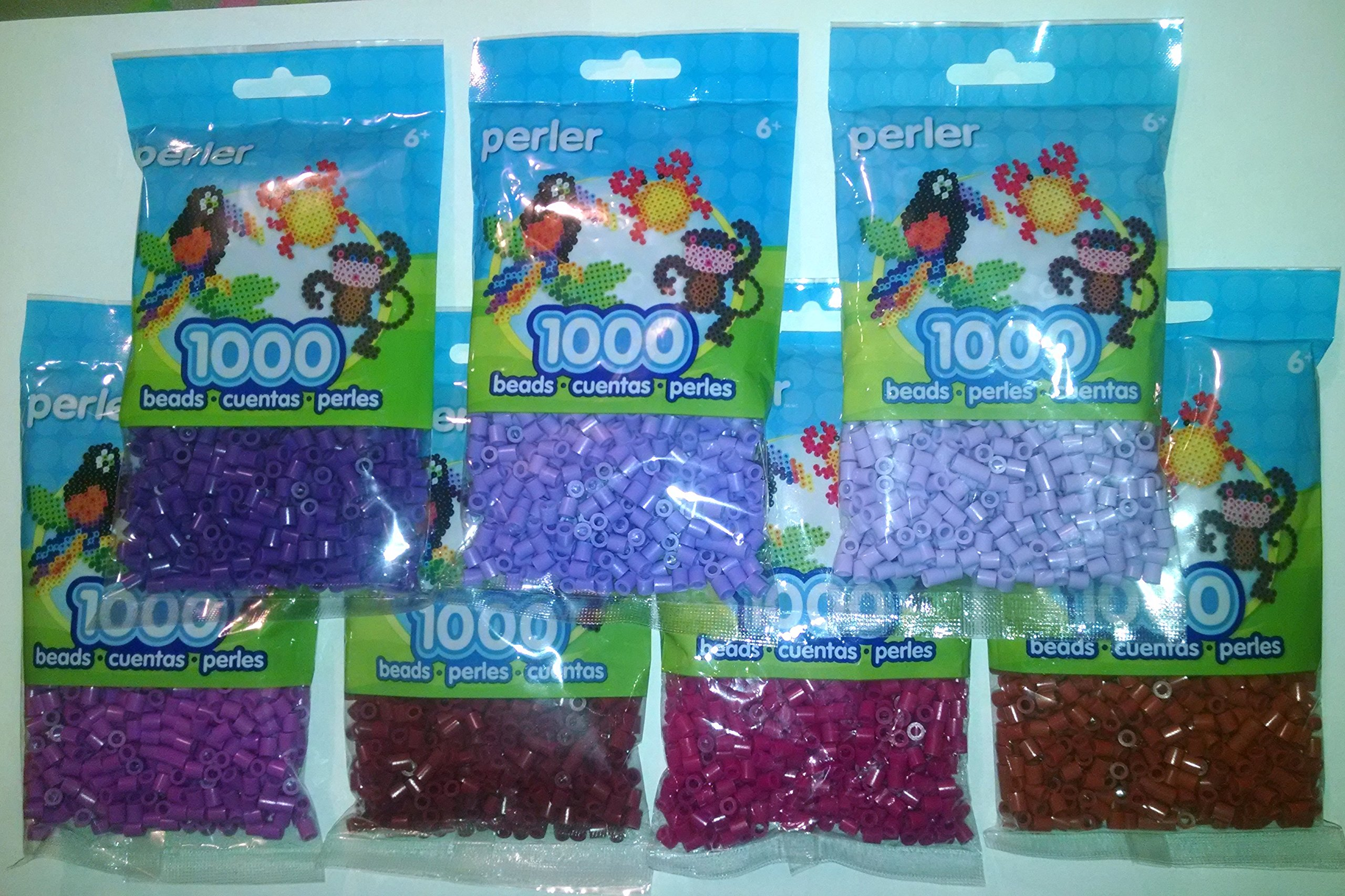 Perler Bead Bag, 7 Purple Rd/BR Group (Purple, Light Lavender, Pastel Lavender, Rust, Cranapple, Raspberry, Plum)