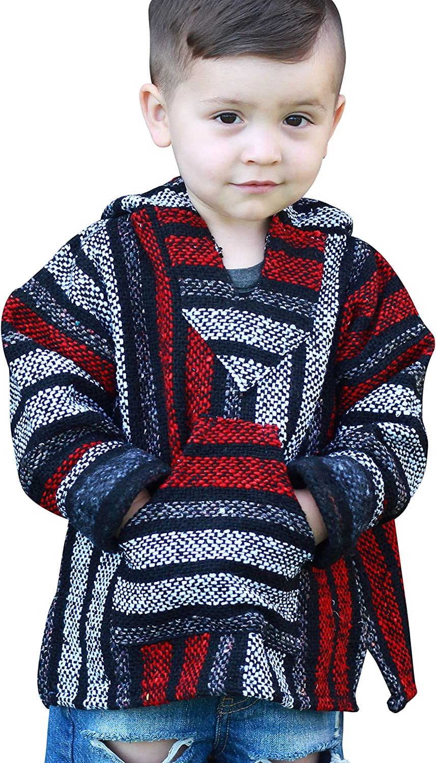 Youth Kids Childrens Mexican Baja Hoodie Pullover Sweater Unisex Boys Girls: Clothing