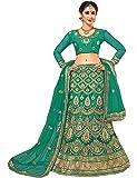Nivah Fashion Women's Embroidered Net Semi-Stitched Lehanga Choli LG01