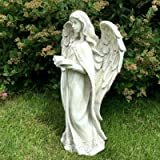 LARGE STANDING ANGEL STONE EFFECT GARDEN ORNAMENT STATUE FIGURE GRAVE MEMORIAL